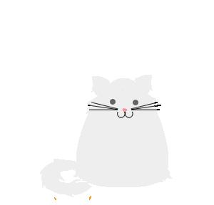 Happy grey cartoon white longhair cat