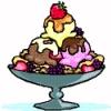 edenfalling: colored line-art drawing of a three-scoop ice cream sundae in a silver dish (ice cream sundae)