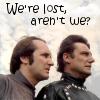 "kerravonsen: Vila, worried, Avon, both looking off to the right: ""We're lost, aren't we?"" (Avon-Vila)"