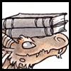 jjhunter: closeup of library dragon balancing book on its head (library dragon 2)