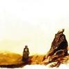 sporky_rat: Liriael and Sam treking across a very pale yellow background with dark ground (abhorsen)