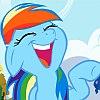 frith: Blue pegasus with rainbow coloured mane, laughing (FIM Rainbow Dash laugh)