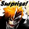 chomiji: Ichigo Kurosaki from Bleach in his Hollow form, with the caption Surprise! (ichigo hollow-surprise!)