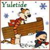 kouredios: Calvin and Hobbes, ready to go sledding. (Yuletide!Calvin and Hobbes)