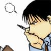 kaigou: Roy Mustang, pondering mid-read. (1 pondering)