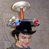 jelazakazone: man wearing tesla coil hat (tesla coil hat boy)